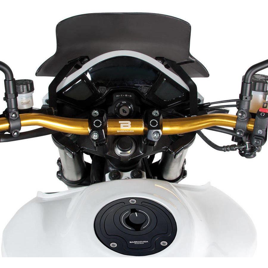 Guidon moto Strada en Ergal BARRACUDA Racing Noir