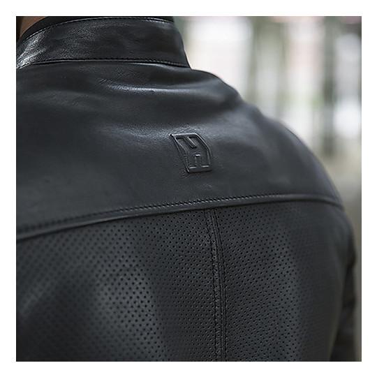 Hevik BLACK CAFE 'Veste de moto en cuir noir perforé personnalisé