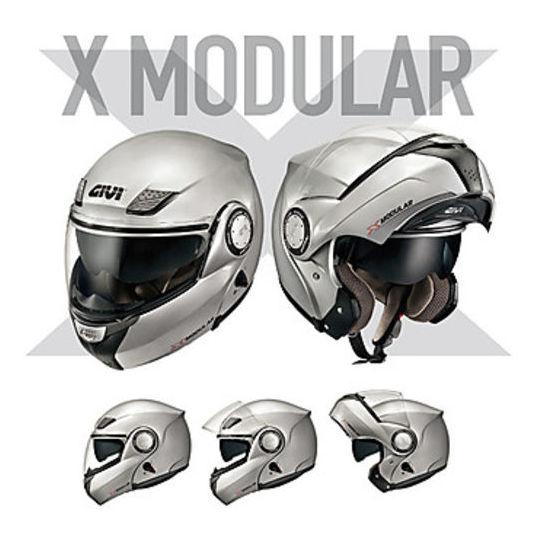 Homologation de casque de moto modulaire double Givi X.08 X-Modular Glossy Black