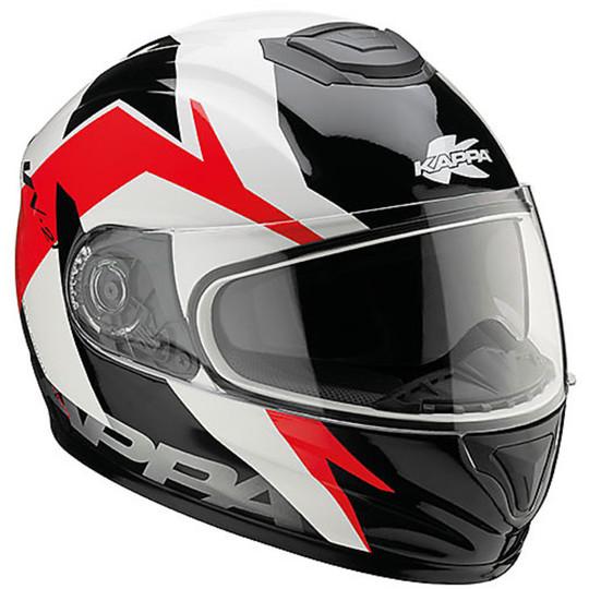 Integra Casque de moto KAPPA KV21 Toledo Double Visor Noir blanc Rouge
