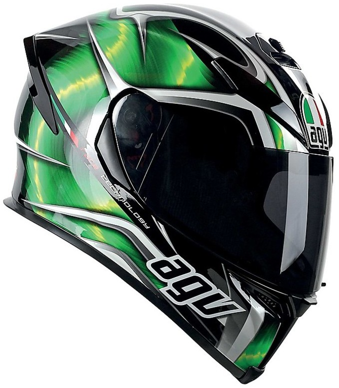 ... Motorcycle Helmet Agv K-5 2015 New Multi Hurricane Black Green White