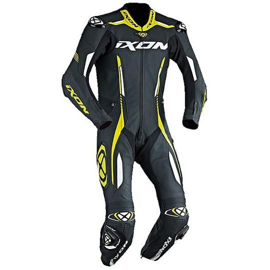 Ixon 2017 VORTEX Combinaison moto professionnelle en cuir noir blanc jaune