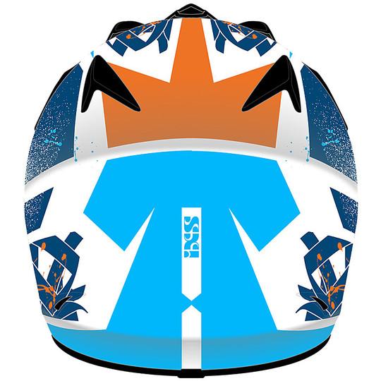 IXS 278 Kid 2.0 Tiger Cross Enduro Casque de moto blanc blanc bleu orange