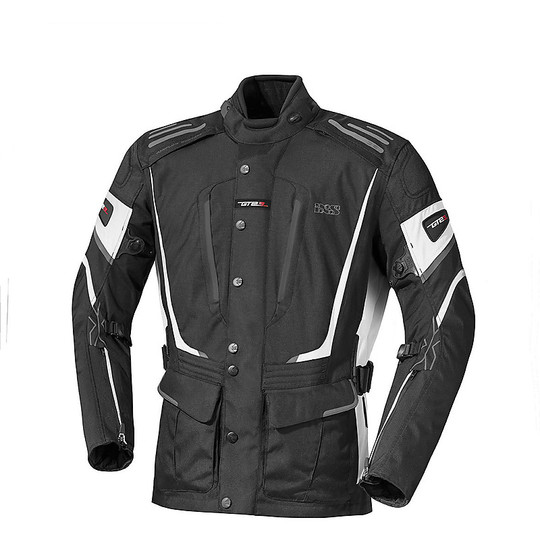 IXS Powells-ST 4 Seasons Fabric Motorcycle Tour Jacket Black White