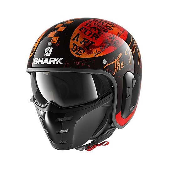 Jet Fibre Casque Rétro Shark S-DRAK 2 Tripp Fibre En Noir Orange