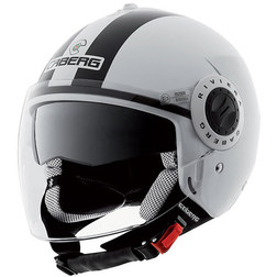Jet Motorcycle Helmet Caberg Riviera V2 + Model Double Visor Legend Black and White Caberg