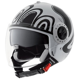 Jet Motorcycle Helmet Caberg Riviera V2 + Model Double Visor Legend Wave White-Black Caberg