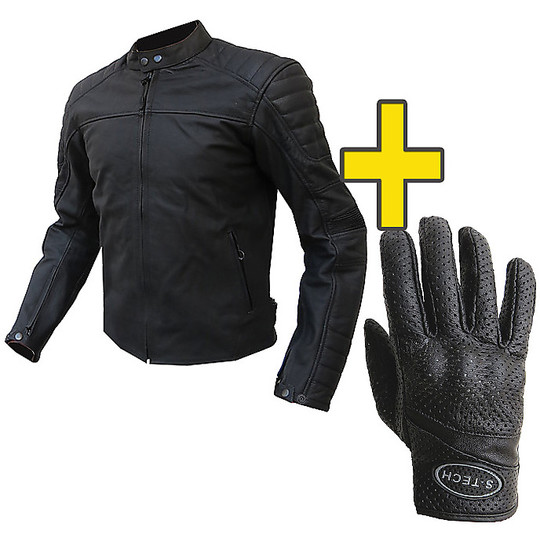 Pelle Giubbotto ProtezioniGuanti Kit Con Risparmio Moto Trax sdQthrCx