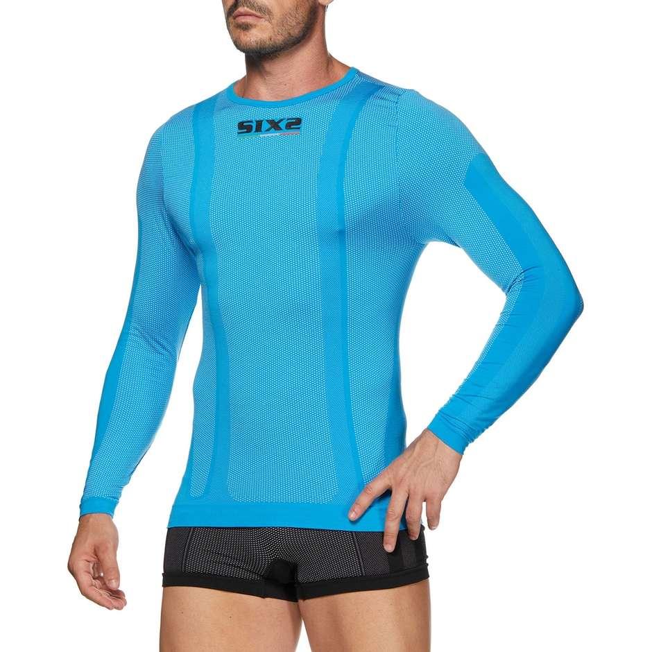 Maglia Girocollo Manica Lunga Intima Sixs TS2 Carbnon Underwear Light Blu