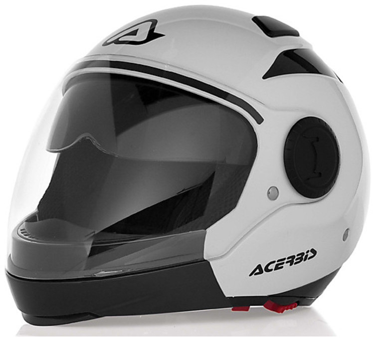 Modular motorcycle helmet jet black sunrise acerbis black double visor