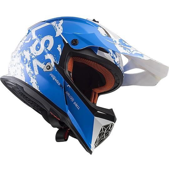 Moto Cross Enduro Helmet LS2 MX437 Fast White White Spot