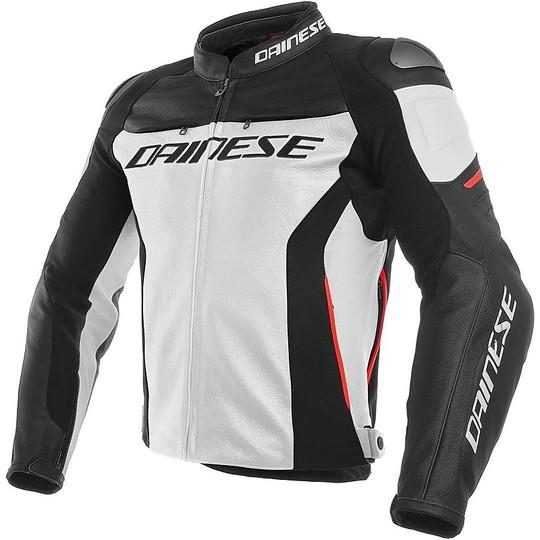 Moto Jacken Leder Dainese Racing 3 Weiß Schwarz Rot
