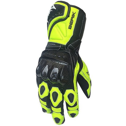 Moto Racing Gloves In Berik Leather 2.0 185301 Black Yellow Fluo White