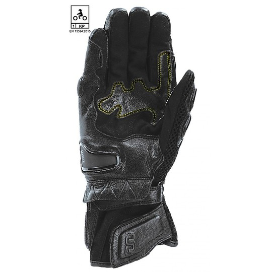 Motorcycle Gloves In Racing Leather Oj Atmospheres HIT Black CE Approved
