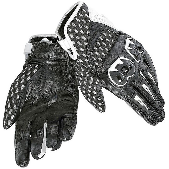Motorcycle Gloves Leather Dainese Air Hero With Protections Black White