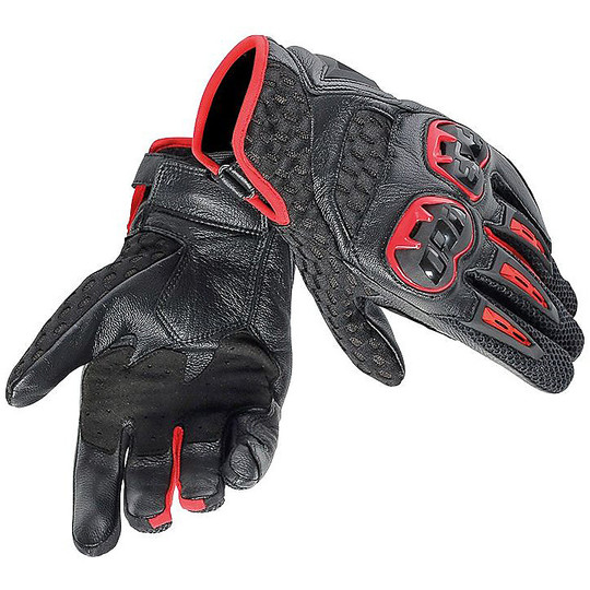 Motorcycle Gloves Leather Dainese Air Hero With Protections Red Lava Black