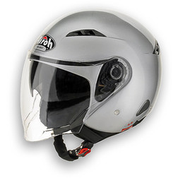 Motorcycle Helmet Airoh Jet City One Flash Dual Visor Color Silver Airoh