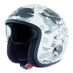 Motorcycle helmet jet premier vintage fiber with integrated visor World TR8 White Premier