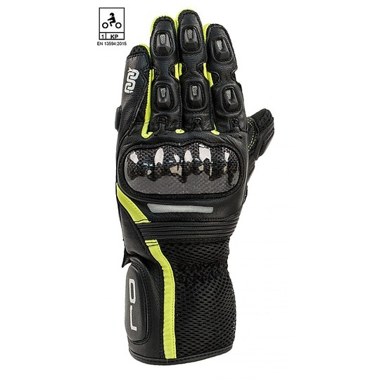 Motorcycle Racing Leather Gloves Oj Atmospheres HIT Black Yellow CE homologated