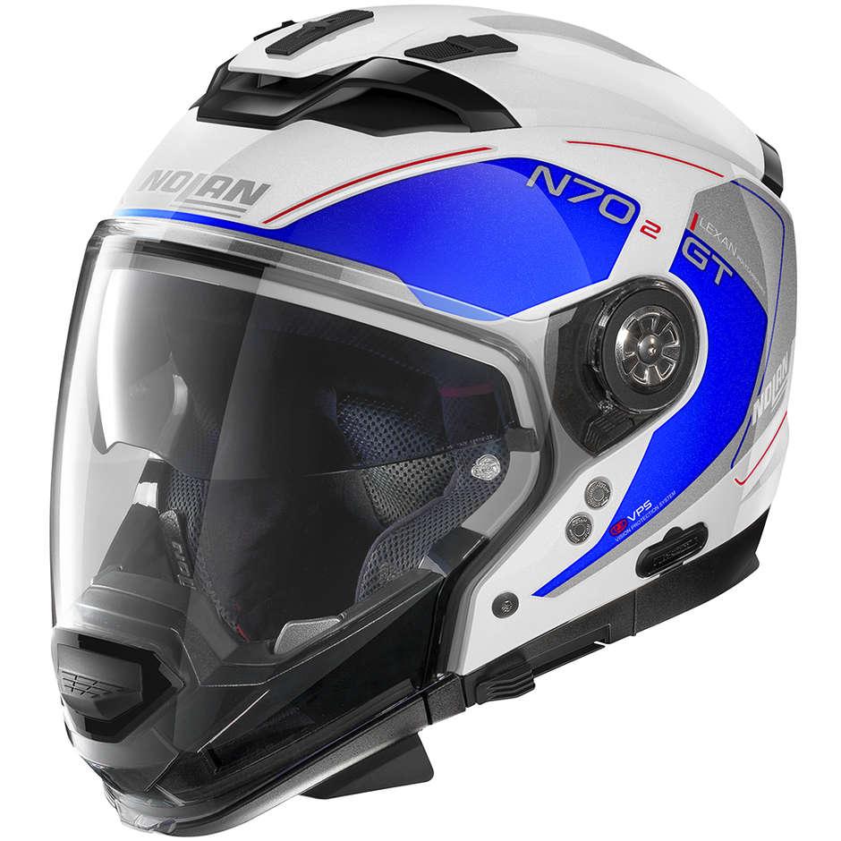 Nolan N70.2 Crossover Casque Moto GT LAKOTA N-Com 041 Blanc Métal Bleu
