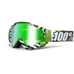 Occhiali Moto Cross Enduro 100% ACCURI Subway Lente Mirror Green Più Lente Trasparente 100%
