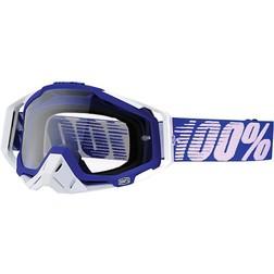 Occhiali Moto Cross Enduro 100% RACECRAFT Blu White  Lente Chiara  100%