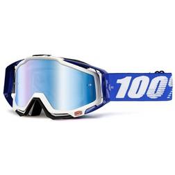 Occhiali Moto Cross Enduro 100% RACECRAFT Cobalt Blu Lente Mirror Blu Più Lente Chiara 100%