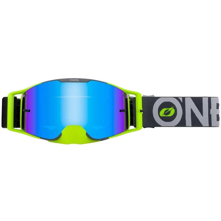 Occhiali Moto Cross Enduro Oneal B 30 Goggle Bold Grigio Giallo   Radium Blu