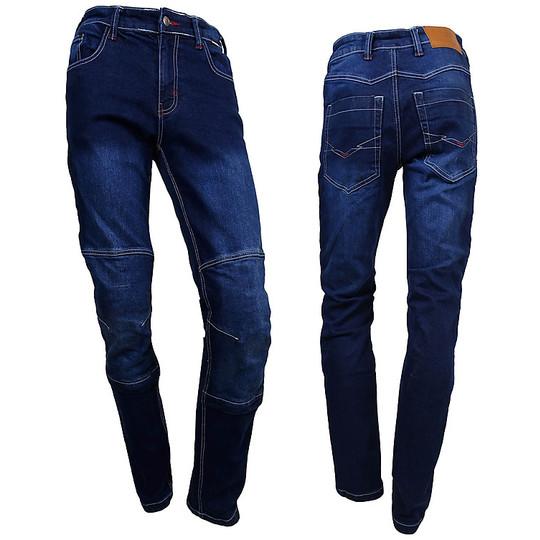 Pantaloni moto Jeans Tecnici Prexport Denim Con Fibre Aramidiche Blu