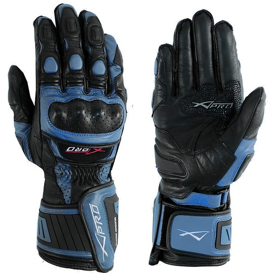 Racing Motorcycle Gloves A-Pro Leather Full Grain Blue Cobra