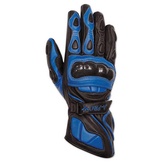 Racing Motorcycle Gloves A-Pro Leather Full Grain Blue Track