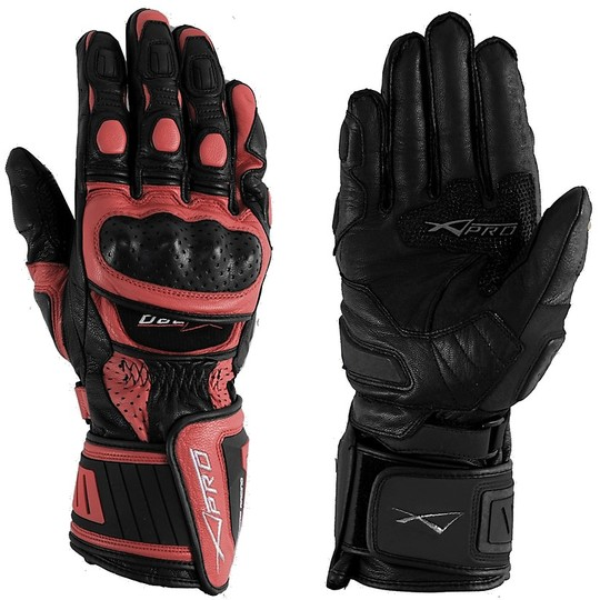 Racing Motorcycle Gloves A-Pro Leather Full Grain Red Cobra