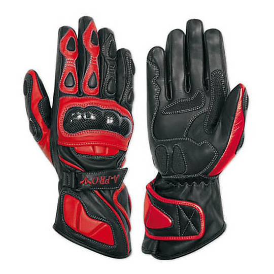 Racing Motorcycle Gloves A-Pro Leather Full Grain Red Track