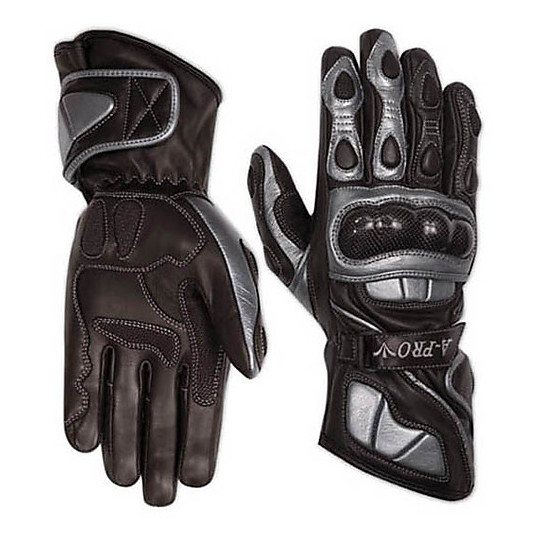 Racing Motorcycle Gloves A-Pro Leather Full Grain Silver Track