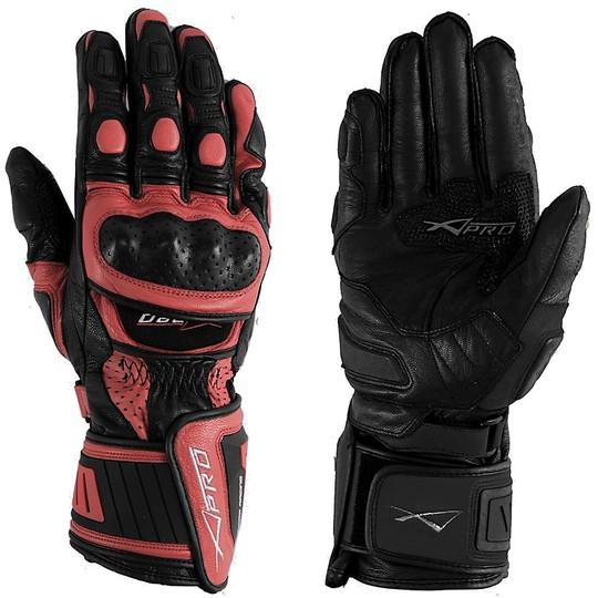 Racing Motorrad-Handschuhe A-PRO Leder Vollnarben Red Cobra