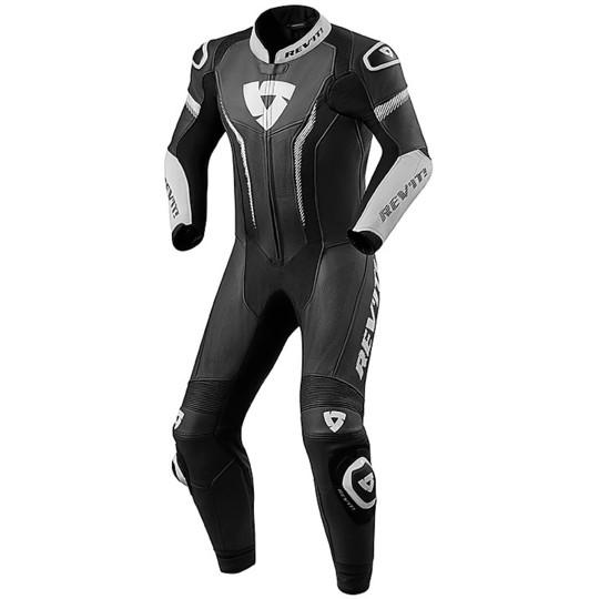 Rev'it ARGON Combinaison professionnelle complète en cuir noir blanc