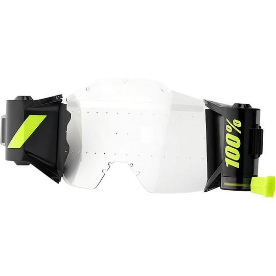 100/% Strata Occhiali con previsione Roll Off System Nero MX MOTOCROSS ENDURO QUAD