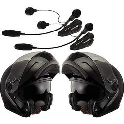 Saving Kit - Pair Modular Helmets LS2 Easy Matt Black + Intercom Bluetooth Cellular Line F4XT Senza marca
