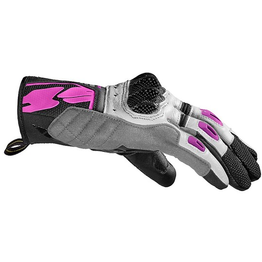 Spidi G-CARBON Lady Lady Gants en cuir court blanc rose