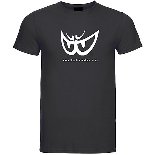 T-Shirt Berik 2.0 Girocollo Outletmoto Stampata Nero Occhio Bianco