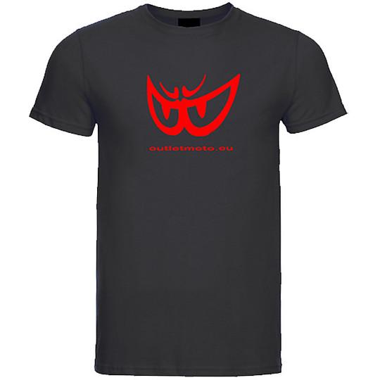 T-Shirt Berik 2.0 Girocollo Outletmoto Stampata Nero Occhio Rosso
