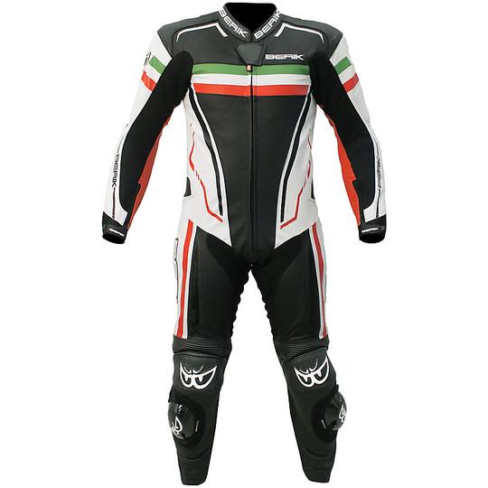 Tuta Intera Moto In Pelle Racing Berik ITALY 2.0 10720 1pc. Nero Bianco