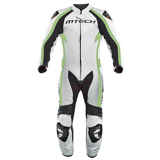 Tuta Moto in Pelle Professionale Intera Mtech MT1 Bianco Verde