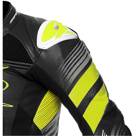 Tuta Moto In Pelle Professionale Intera Spyke Estoril Race Nero Giallo