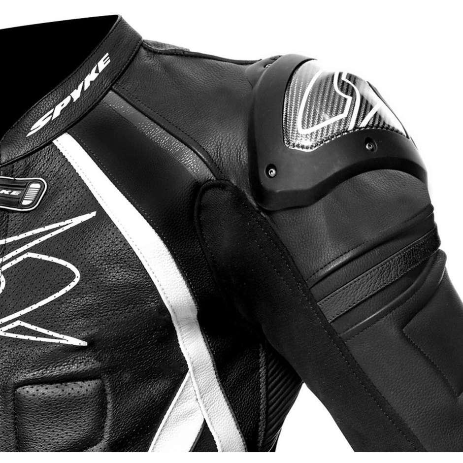 Tuta Moto In Pelle Professionale Intera Spyke Losail Race CE Nero Bianco