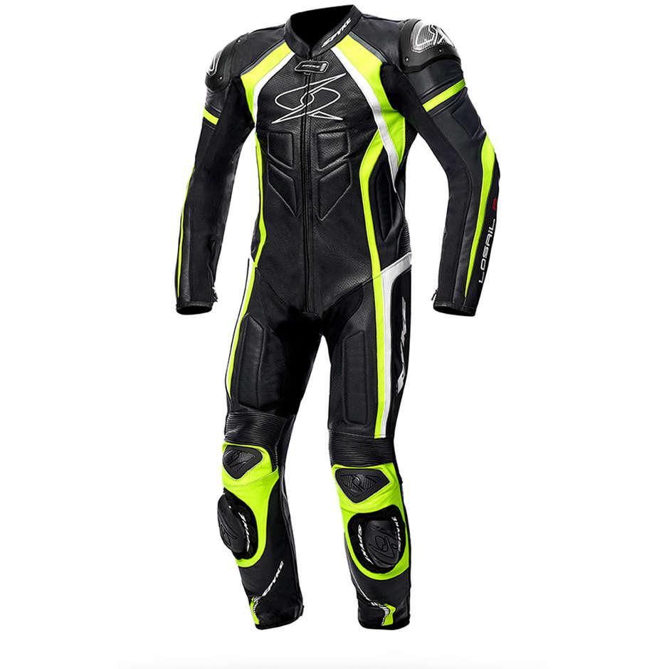 Tuta Moto In Pelle Professionale Intera Spyke Losail Race CE Nero Giallo Fluo