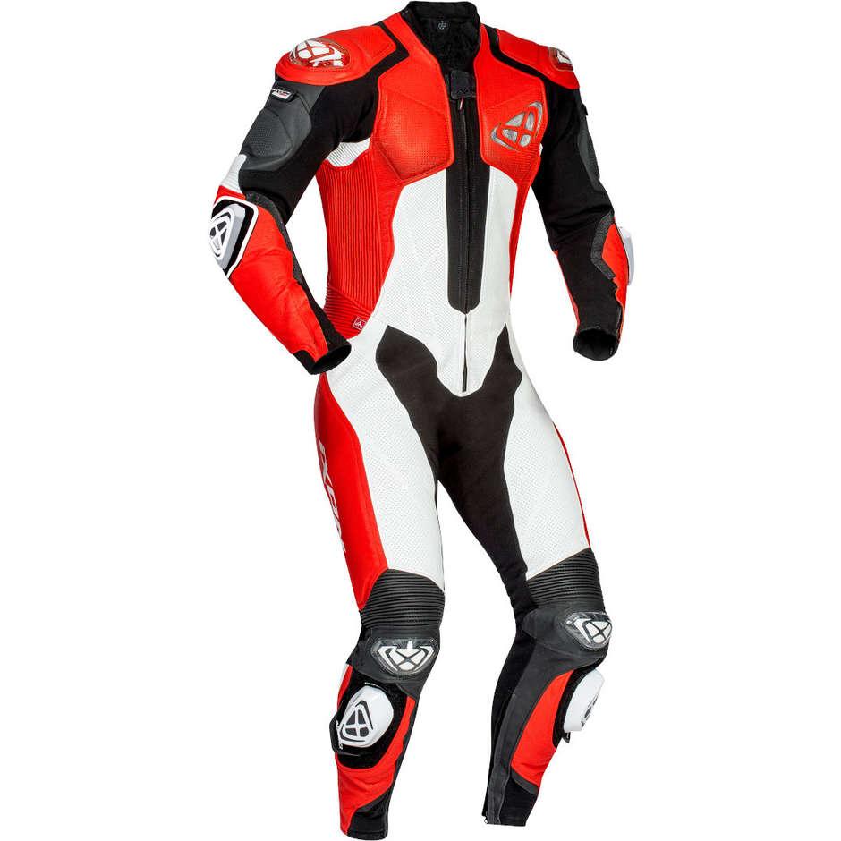 Tuta Moto In Pelle Racing Ixon VENDETTA Nero Rosso Bianco