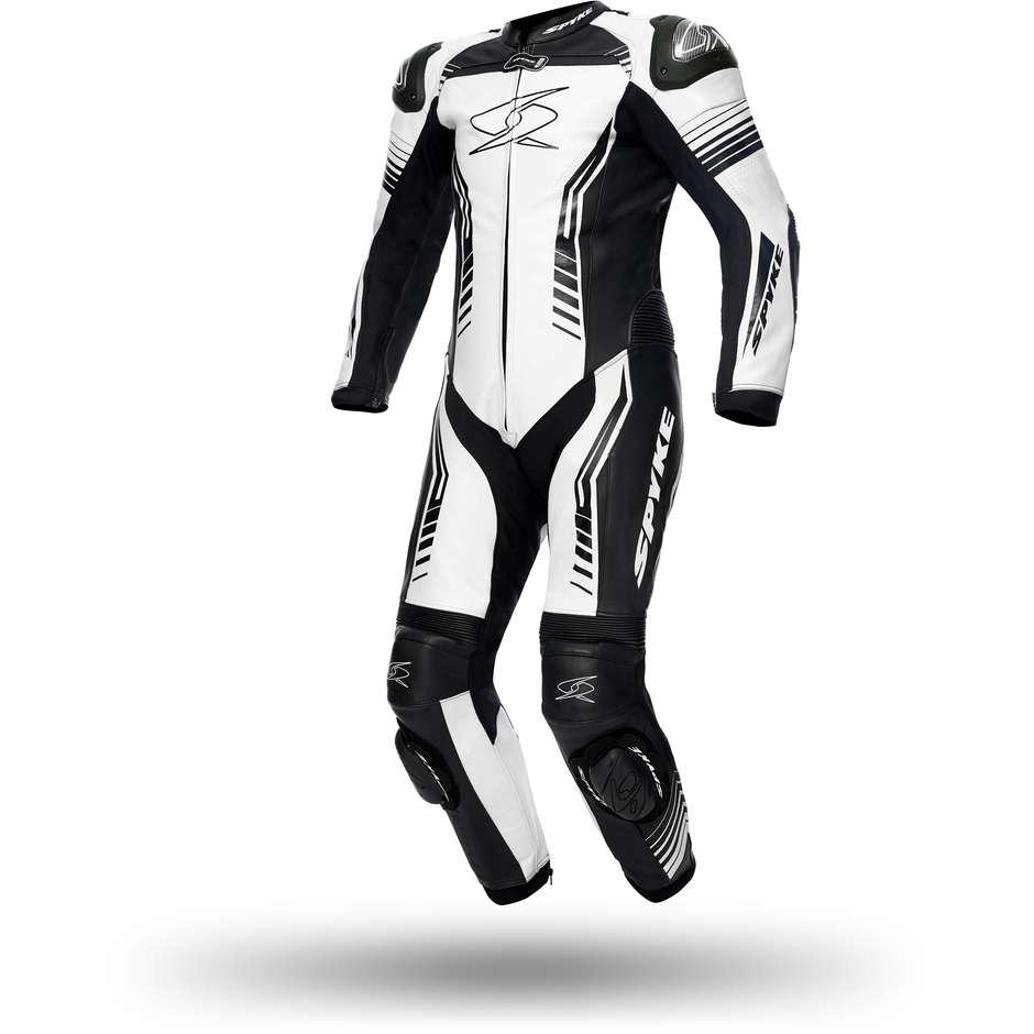 Tuta Moto Professionale In Pelle Spyke Assen Race bianco Nero