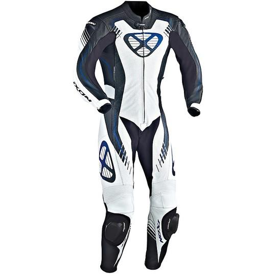 Tuta Moto Professionale In Vera Pelle Bovina Ixon Starbust Nero Bianco Blu