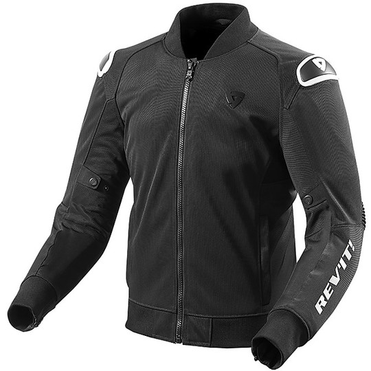Veste de moto en tissu Rev'it TRACTION Noir Blanc